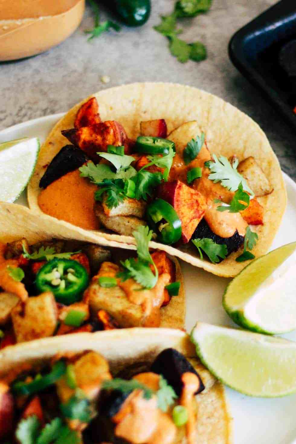 Root vegetable tacos with jalapenos and queso are great for easy college meals