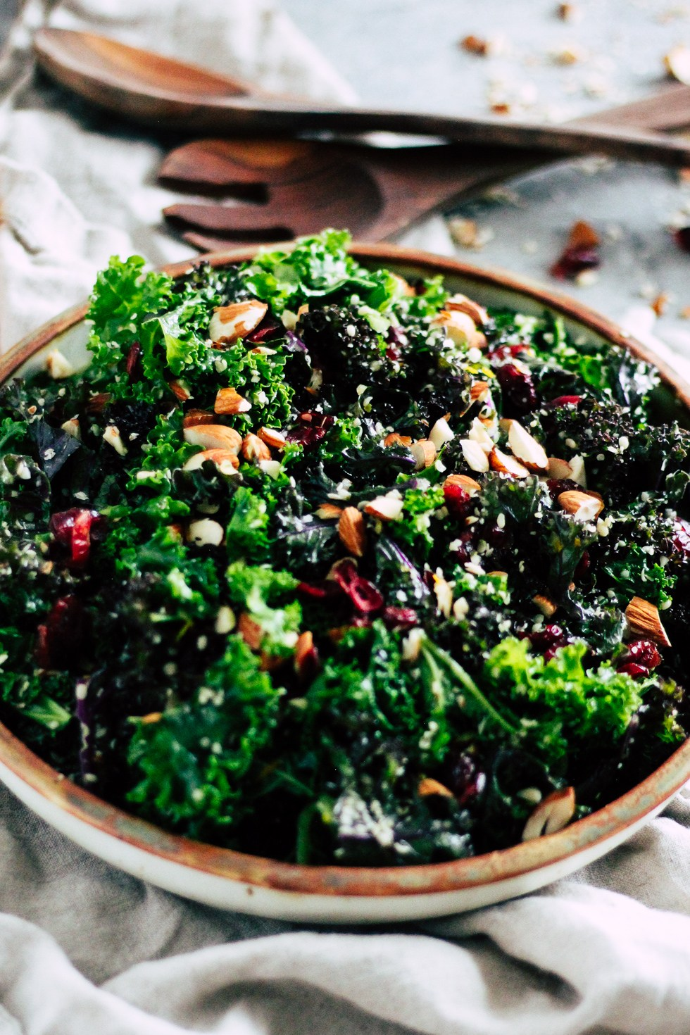 Make-Ahead Kale Salad in ceramic dish for easy college meals