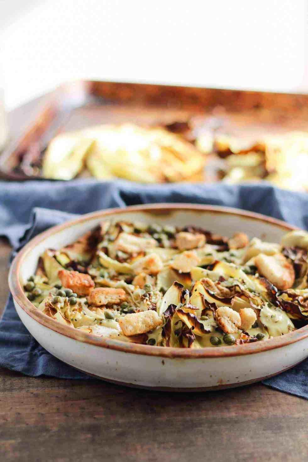 Cabbage salad with vegan Caesar dressing.