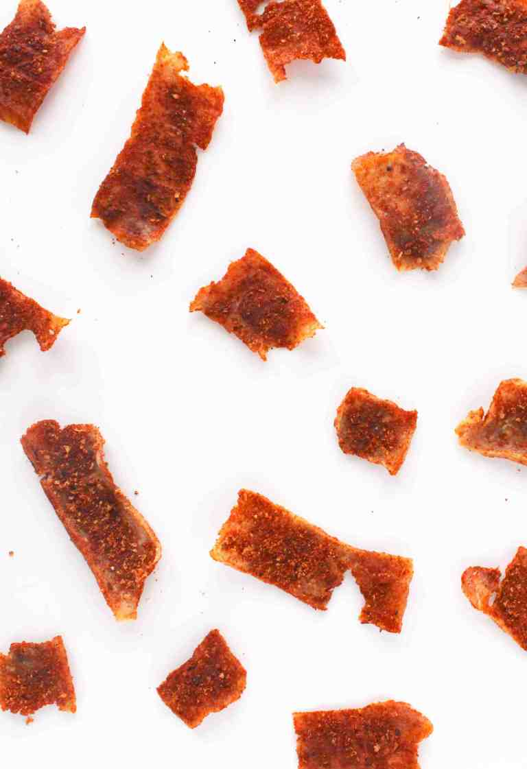 Tofu jerky on white background.