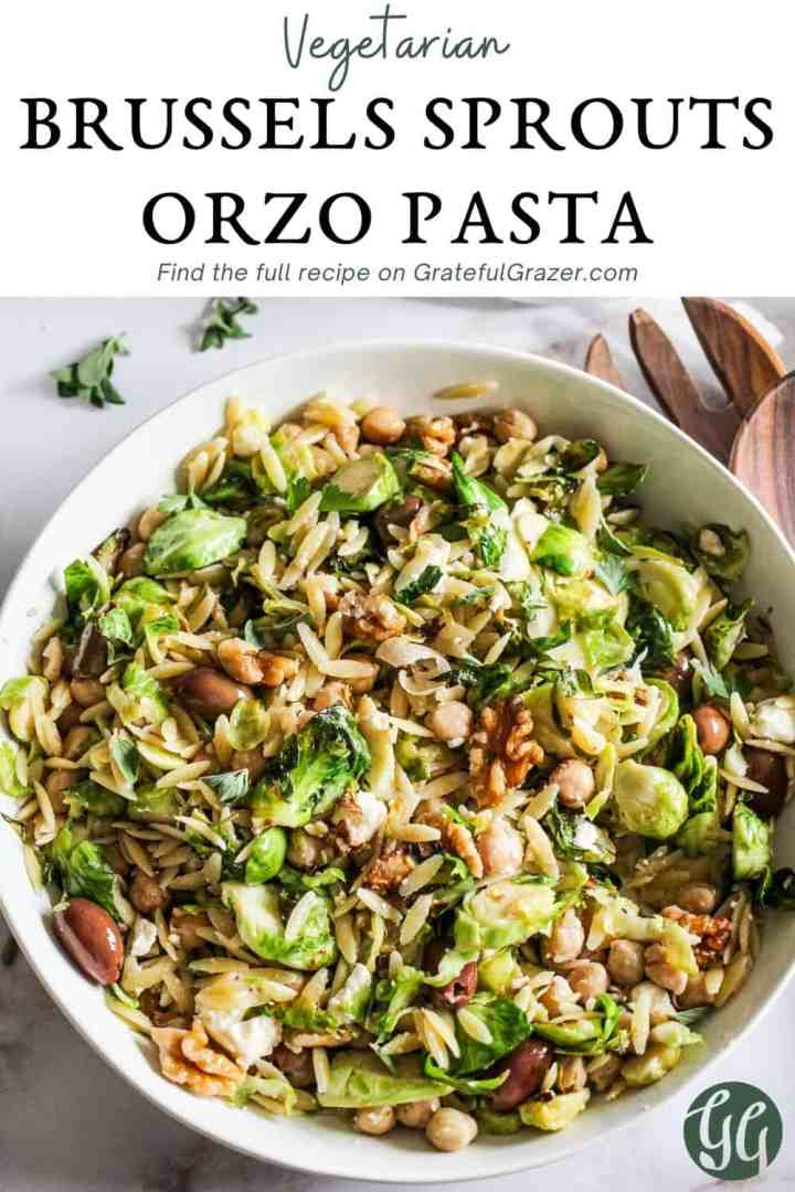 """Orzo salad in a white bowl with text reading, """"Vegetarian Brussels Sprouts Orzo Pasta - Find the full recipe on GratefulGrazer.com."""""""