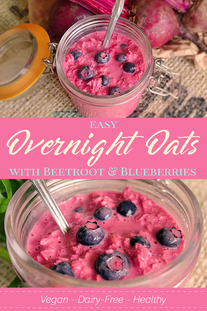 Easy Overnight Oats With Beetroot and Fresh Blueberries [Vegan Recipe]