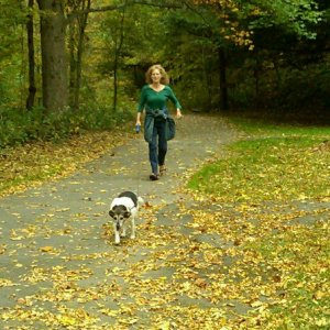 Margaret Wakeley walking her dog, Ollie.