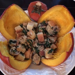 Autumn favorite, roasted pumpkin with spinach stuffing