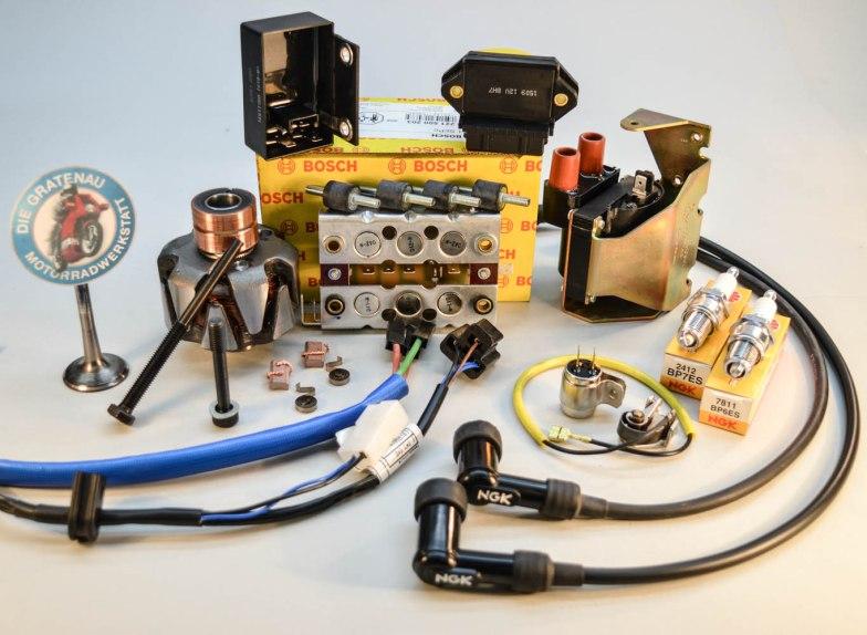 Auszug aus unserem Angebot der Motorelektrik für die BMW 2 Ventil Boxer. Zündkabel, Zündkerzen, Diodenplatte, Regler, Zündsteuergerät, Rotor, Anker, Zündspule
