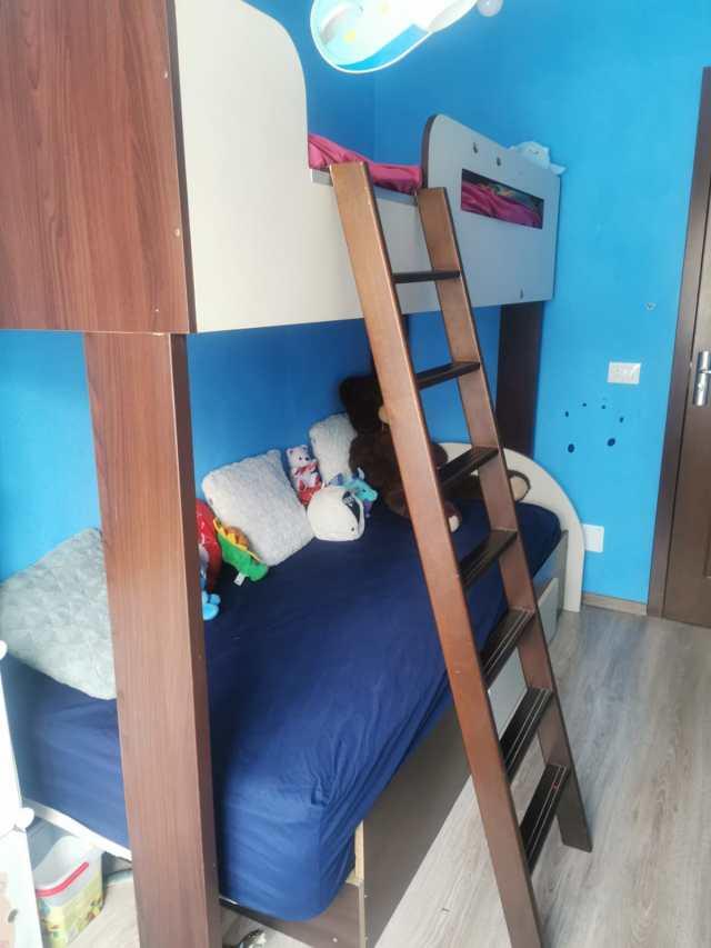 pat etajat, mobila, camera copilului, albastru,