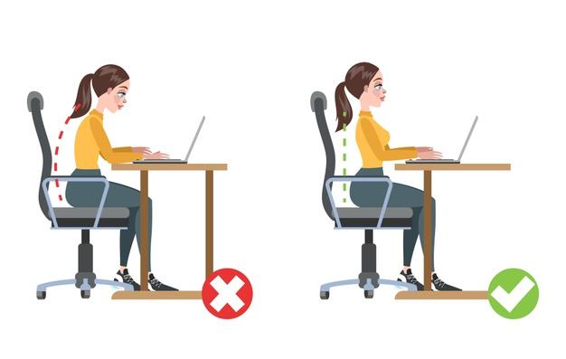 pozitia corecta la birou pe un scaun ergonomic