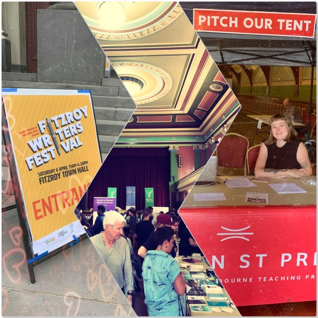 A collage of photos from the festival: the festival's banner, Bookseller's marketplace, and our Pitch Tent.