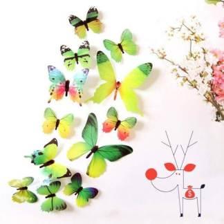 Set 12 piese postere sticker lipit perete 3D fluturi decorativi