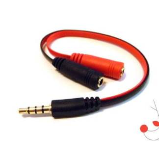 Splitter adaptor cablu audio stereo 4 pini jack 3.5mm tata la 2x jack 3.5mm