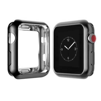 Husa silicon Apple Watch 38mm, carcasa protectie spate margini ecran