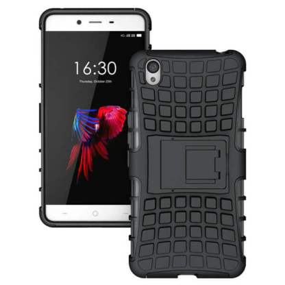 Husa protectie socuri OnePlus X, carcasa spate telefon, cu suport birou