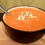 Roasted Red Pepper Soup with Goat Cheese