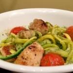 Pesto Zucchini Noodles and Chicken