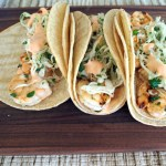 Grilled Cilantro-Lime Shrimp Tacos with Slaw and Sriracha Ranch