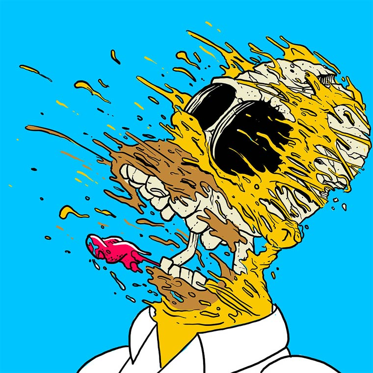 Exploding Popular Cartoons by artist Matt Gondek