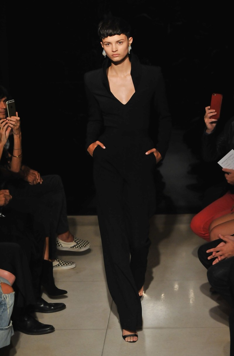 NEW YORK, NY - SEPTEMBER 14:  A model walks down the runway during the Brandon Maxwell fashion show during Spring 2016 New York Fashion Week at Mr. Chow on September 14, 2015 in New York City.  (Photo by Fernando Leon/Getty Images for Brandon Maxwell)
