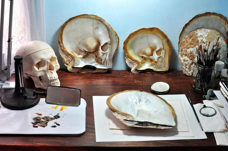 Skull Carved Seashells by Gregory Halili (9)