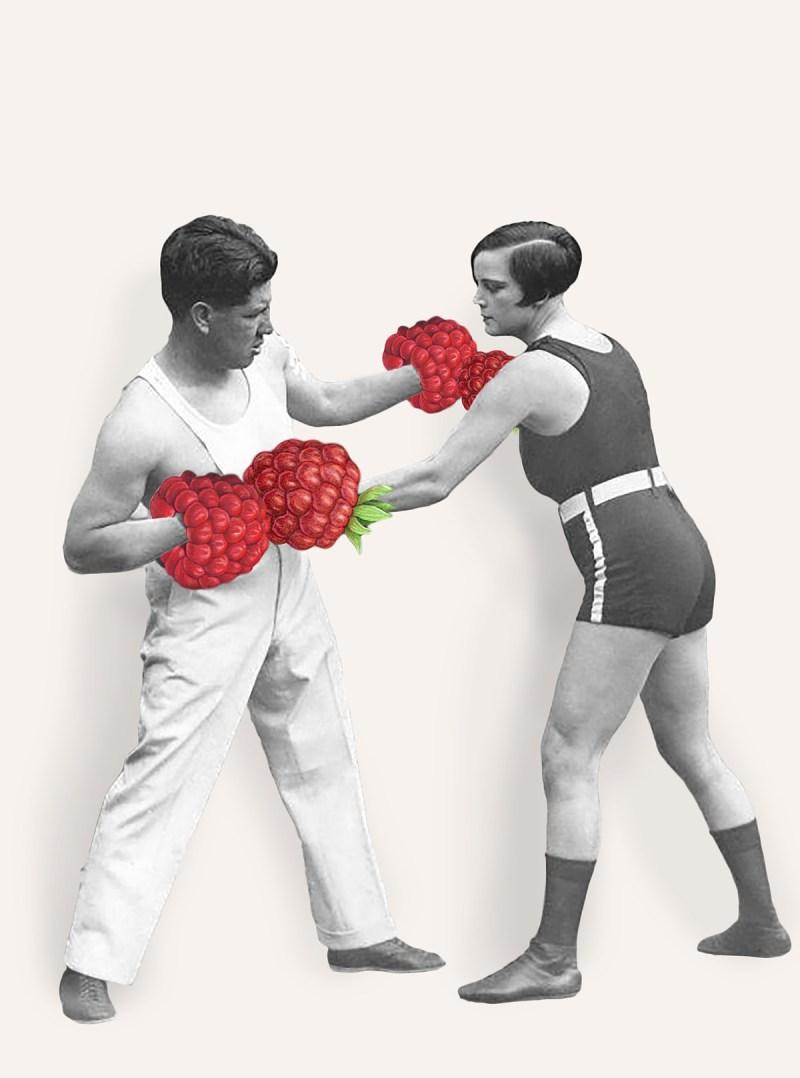 De vrouwelijke wereldkampioene boksen in het lichtgewicht Louise Adler traint met de prijsvechter Joe Rivers voor de wedstrijd waarin zij haar titel zal verdedigen, Verenigde staten 1926.
