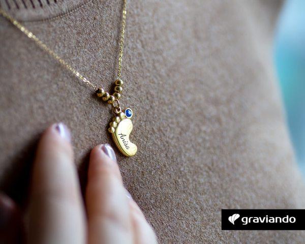 Halskette mit Gravur Fuß