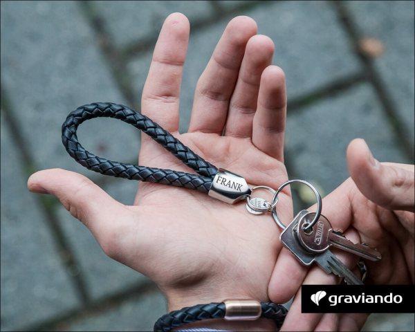 Schlüsselanhänger mit Gravur - Leder geflochten Glanz Graviando
