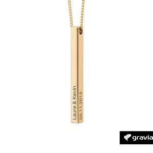 Bar Kette mit Gravur Gold
