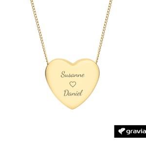 Herzkette mit Gravur Gold Graviando