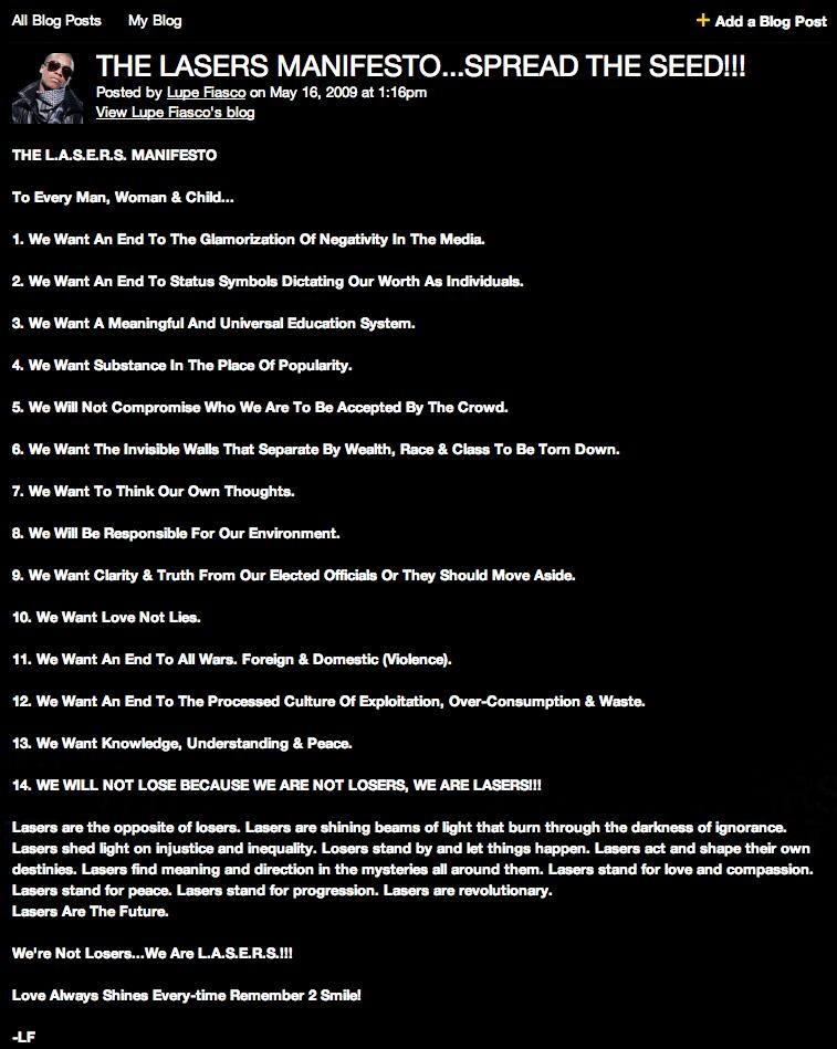 LASERS Manifesto