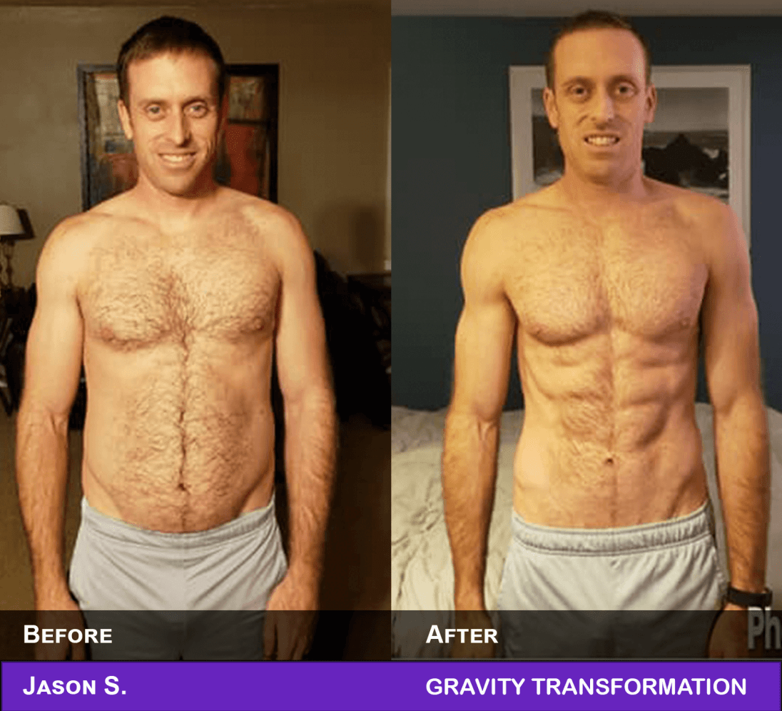 Man before and after muscle transformation