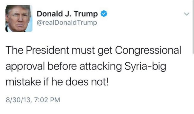 President must get Congressional approval to attack Syria. Trump tweet from 2013.