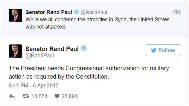 Rand Paul tweet. We need Congress to approve military action.