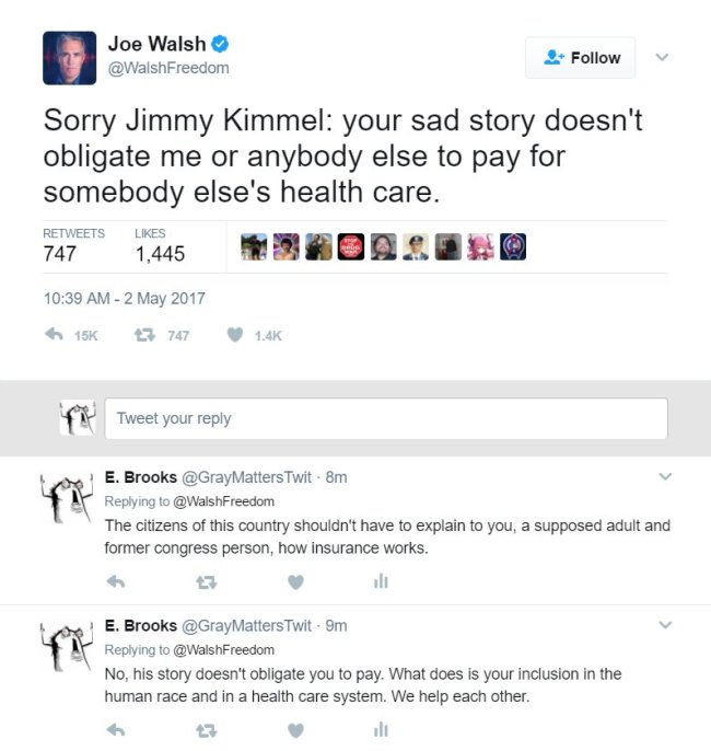 Former congress person Joe Walsh responds to Jimmy Kimmels monologue about his newborn son's heart surgery.