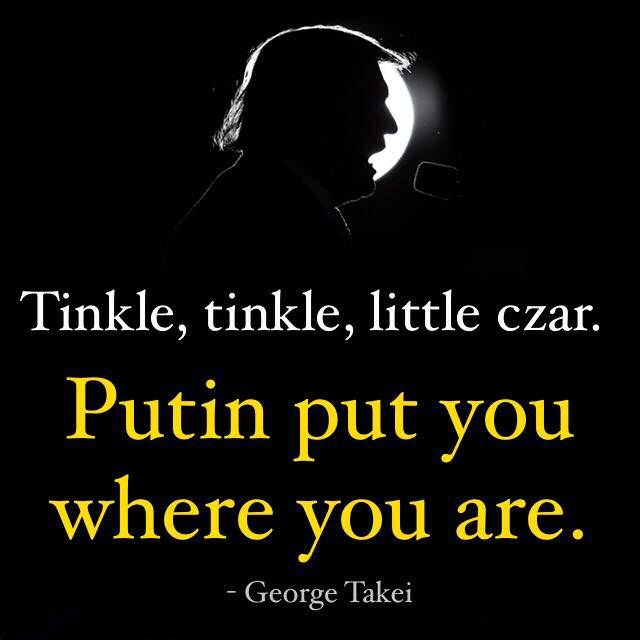 Tinkle, tinkle, little czar. Putin put you were you are.