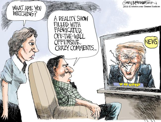 Watching the news aka Trump's reality show of hate and crazy.