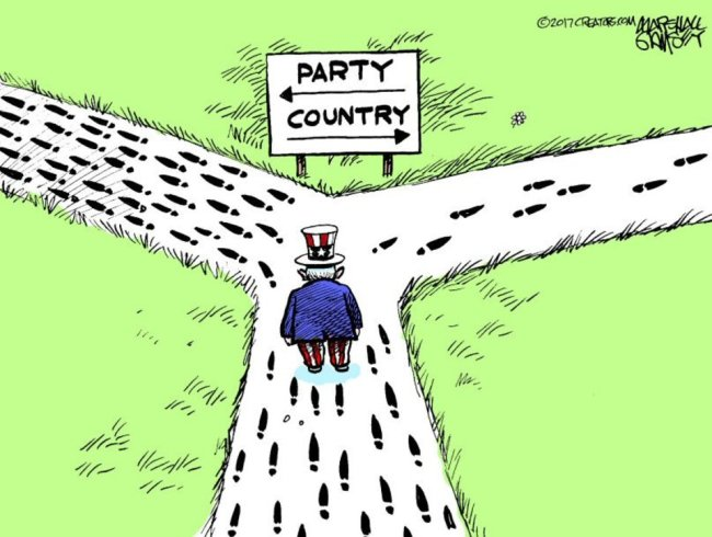 Uncle Sam at a fork in the road.