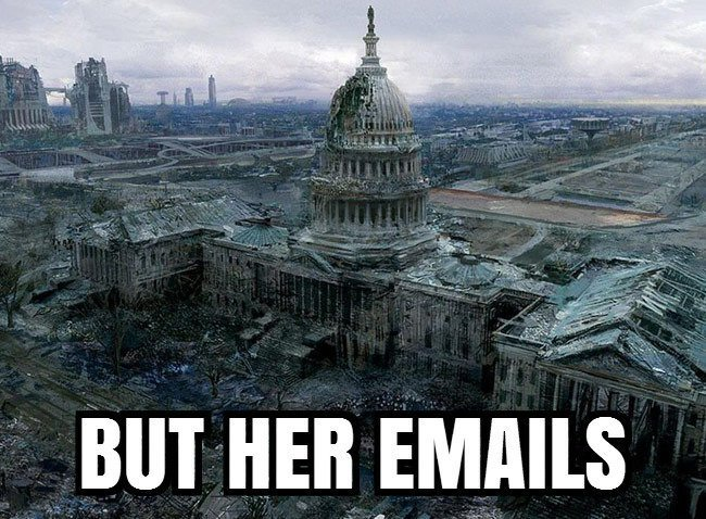 Capitol in ruins, but her emails!