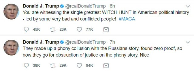 """Trump Tweets about phony collusion with Russians, """"witch hunt,"""" etc. The usual lies/drivel."""