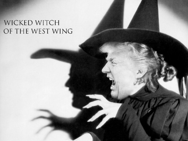 Photoshop of Trump as wicked witch.