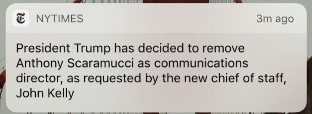 """Trump removes """"Mooch"""" as communications director after only ten days"""