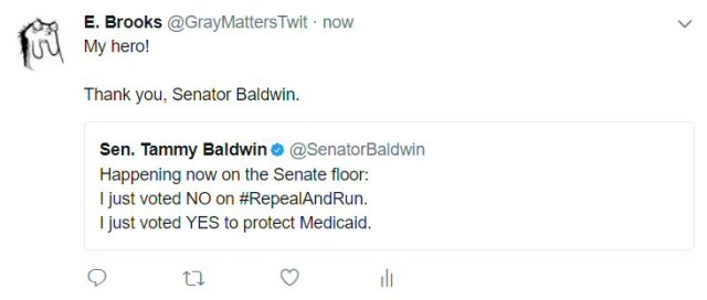 The GOP Senate, today, is working hard to remove our health insurance protections. Senator Baldwin (D-WI) is one of many working for citizens to save those protections.