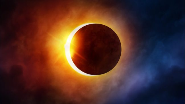 A solar eclipse, similar to the one expected today in the USA.