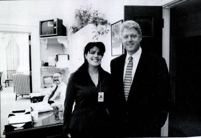 Monica Lewinsky and Bill Clinton at the White House.