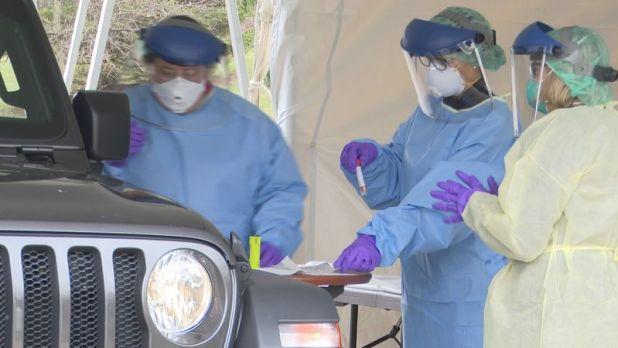 MSU Health Care begins drive through coronovirus testing.