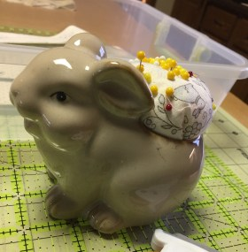 Easter bunny pin cushion