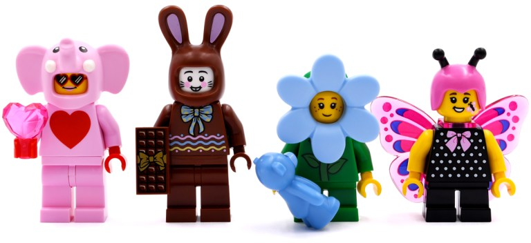 Pink Elephant, Chocolate Bunny, Flower Boy and Butterfly Girl.