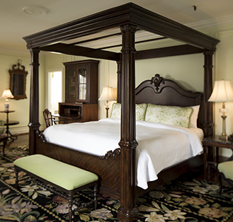 Antique Four poster bed with matching antique furniture
