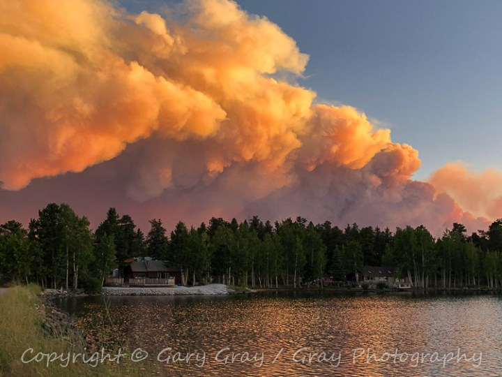 The Cameron Peak Wildfire burns south of Red Feather Lakes, Colorado.