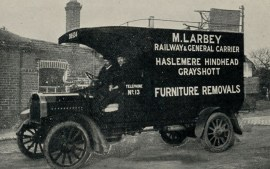 M Larbey's van at Haslemere station 1914