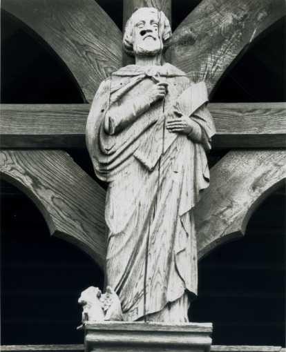 Oak Carving of St Luke Carved by Mr Forsyth