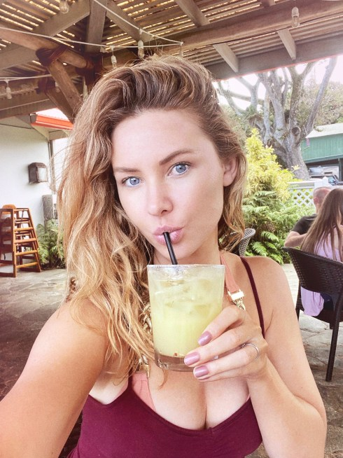 Drinking a drink at the Hana Ranch Restaurant in Maui Hawaii